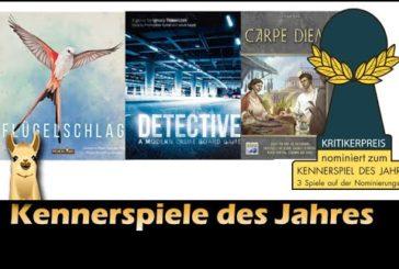 ► Kennerspiel des Jahres 2019 / Nominierungen / Flügelschlag, Detective, Carpe Diem / SpieLama